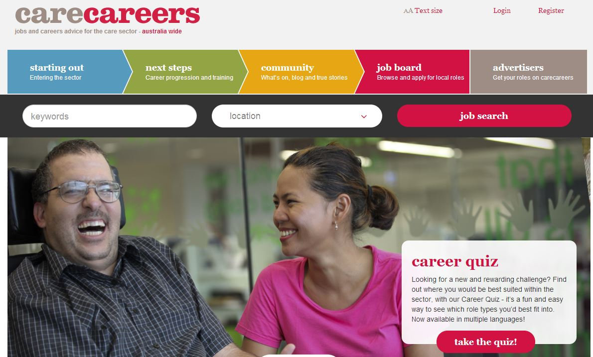 carecareers screen grab